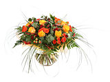 Floral composition of orange roses, hypericum and fern. Flower a