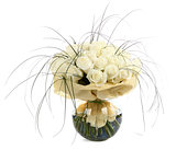 A large bouquet of white roses. A huge bouquet of cream roses. I