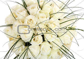 A huge bouquet of white roses. The isolated image on a white bac