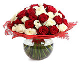 Floral compositions of red and white roses. A large bouquet of m