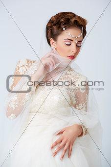 Bride in white wedding dress