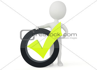 3d humanoid character present a green checkmark sign