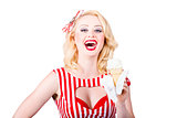 Retro pin-up poster girl with ice cream