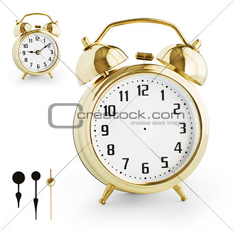 Alarm clock DIY kit from gold metal. Clipping paths for each arr