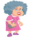 Cartoon old lady with a handbag