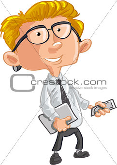 Office worker with mobile phone and laptop