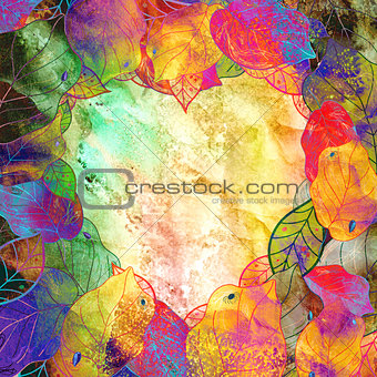 Autumn background with hearts and leaves