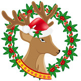 christmas deer wreath of holly berries vector illustration