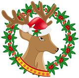 christmas deer wreath of holly berries vector illustration