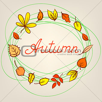 Autumn abstract background with circle from colorful leafs