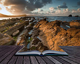 Sunrise ocean landscape Mupe Bay Jurassic Coast England in pages