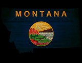 USA American Montana State Map outline with grunge effect flag i