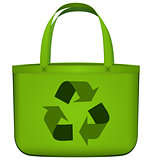 Green reusable bag with recycling symbol vector