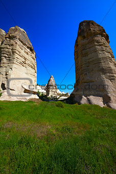 Fairy chimneys rock formations. Turkey, Cappadocia, Goreme.