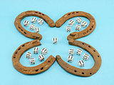 clover retro horse shoes gamble dice six blue