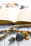 sea shells and old book