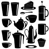 Collection of tea and coffee items silhouettes