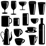Cups and glasses silhouettes collection