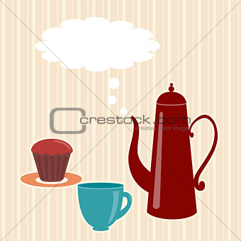 Greeting card with teapot