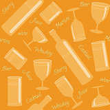 Seamless pattern with drinks and text
