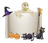 Halloween Mummy Scroll Sign