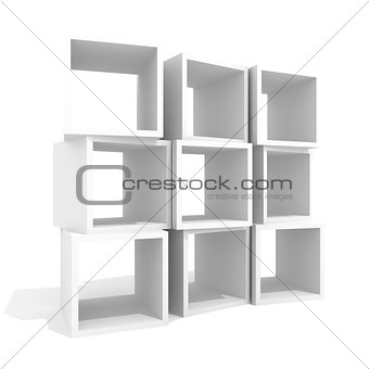 Abstract shelf of boxes