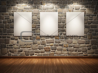Frame  on stone wall