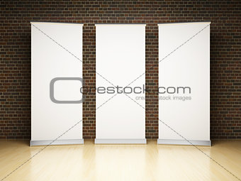 Blank roll up banner in studio