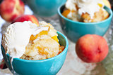 Peach Cobbler and Vanilla Ice Cream