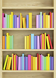 bookcase with multicolored books