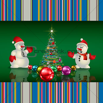 Abstract Christmas greeting with tree snowmen