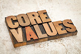 core values  in wood type