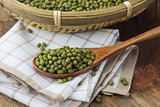 Mung bean in a wooden spoon