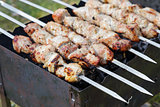 cooking pork shashlik  on skewer