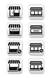 Single shop or store, supermarket vector buttons set