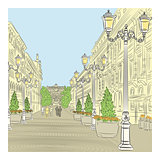 Vector Cityscape, the wide avenue with vintage buildings and bea