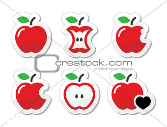 Apple, apple core, bitten, half vector labels set