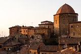 Evening in the Small Town of Volterra in Tuscany, Italy