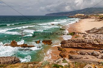 Guincho Beach on Atlantic Ocean in Stormy Weather near Lisbon, P