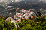 Aerial View on Sintra National Palace from Murish Castle near Li