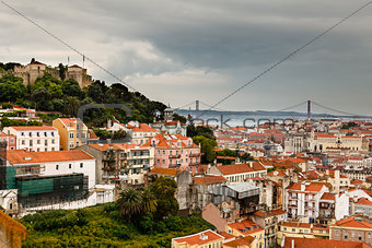 Aerial View on San Giorgio Castle and 25 Abril Bridge, Lisbon, P