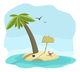 Vector illustration of tropical island with signboard