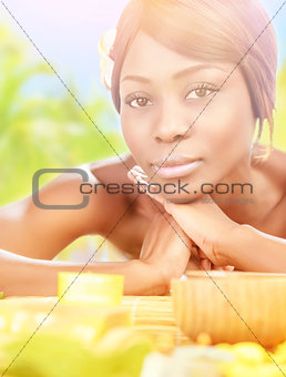 African female in spa