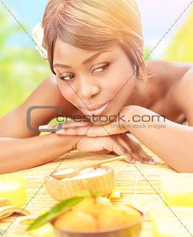 Black girl on spa resort