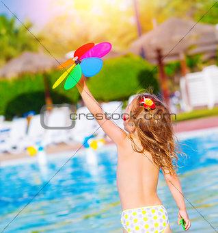 Baby girl in waterpark