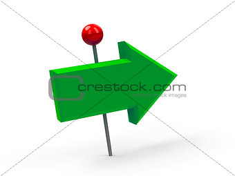 Green arrow pushpin