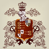 Heraldic design with coat of arms and shield in vintage style