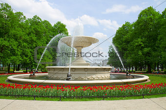 fountain in park, Warsaw, Poland