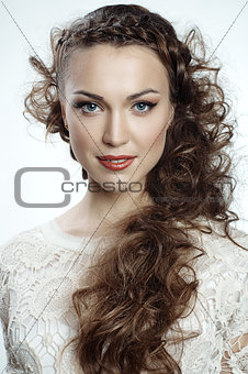 Pretty russian woman with curly hair