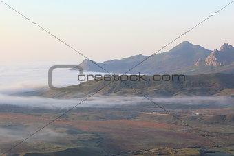 Fog near the volcano